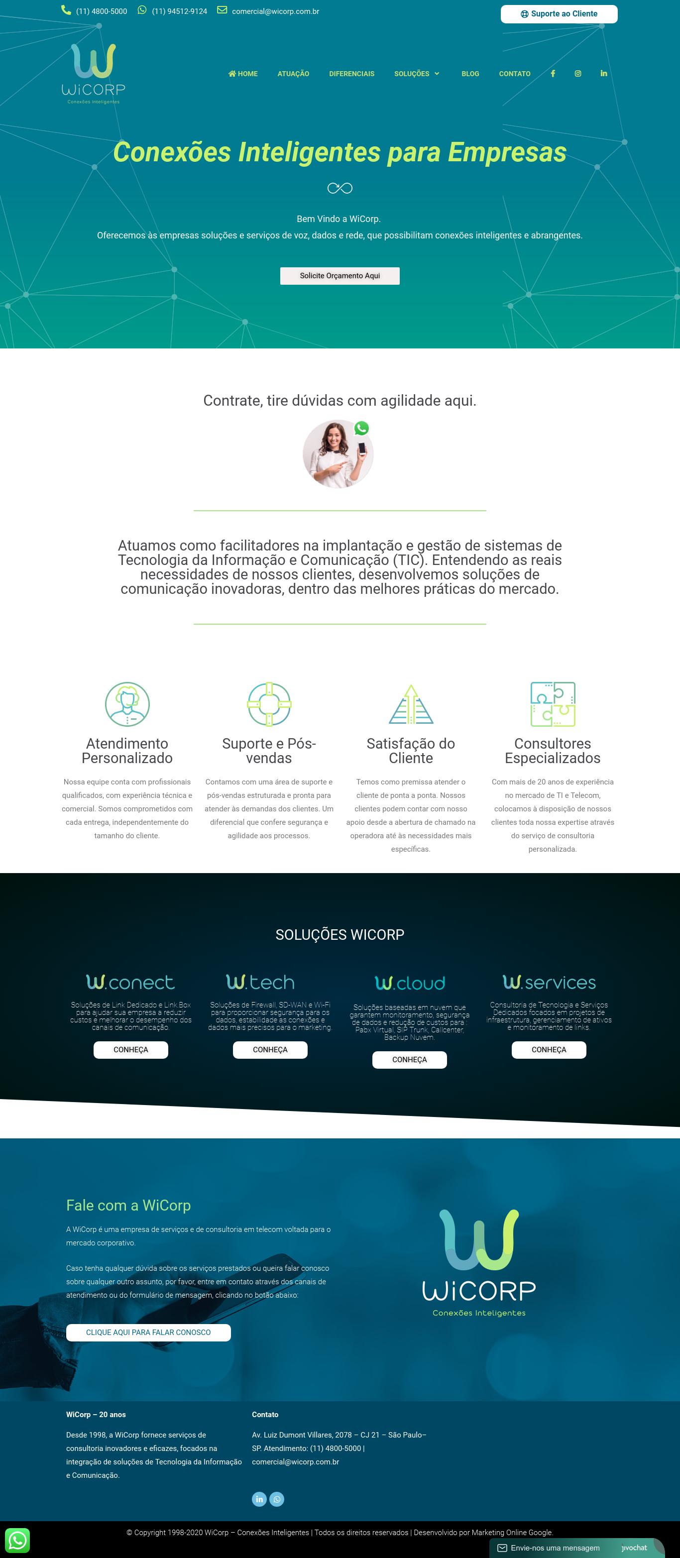 Wicorp - Serviço Corporativo para Pabx na Nuvem, Link dedicado,Firewall, Telecom